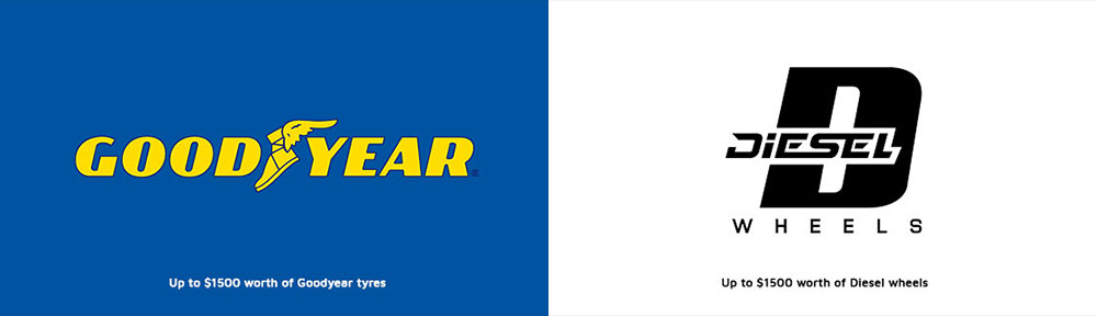 Up to $1500 worth of Goodyear tyres. Up to $1500 worth of Diesel wheels.